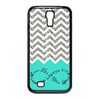 1 X EVERMARKET(TM) Colorful Chevron Pattern Live the Life You Love, Love the Life You Live Samsung Galaxy S4 9500 Durable Plastic Case Without Glitter