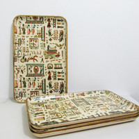 Vintage Serving Trays with Egyptian Motif, Set of Four