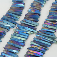 Full Strand Rainbow Green Titanium Quartz Crystal Point Pendants Bulk,Raw Rough Crystals Stick Beads Charms Necklaces
