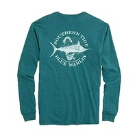 Fish Series Blue Marlin Heathered Long Sleeve T-Shirt in Heather Dark Teal by Southern Tide