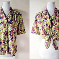floral button down top (free size), blouse with tropical flowers print