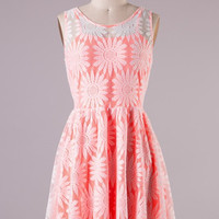 Pocketful of Daisies Dress - Neon Coral