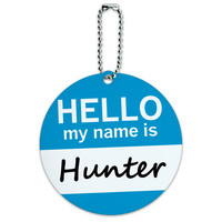 Hunter Hello My Name Is Round ID Card Luggage Tag