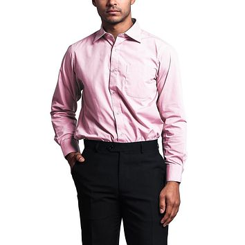 Regular Fit Long Sleeve Dress Shirt - Pink