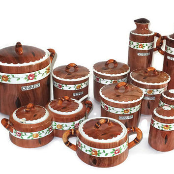 Vintage Orchard Ware Lot - Ceramic Decorative Kitchen, Painted Wood with Floral Accents and Bamboo Handles, with Lids, Cookie Jar, 23 pieces