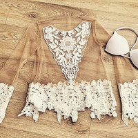 Gauze embroidered Fashion lace Blouse
