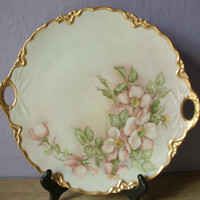 Vintage Hutschenreuther Germany fine china platter, hand painted flowers, gold, round serving plate, Thanksgiving china plate, Christmas