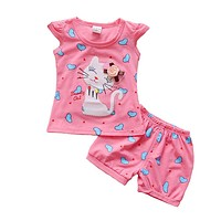 Infant clothes toddler children summer baby girls clothing sets cartoon PCs cat love clothes sets girls summer set