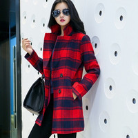 Women Fashion Plaid Woolen Coat = 1782940164