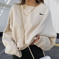 NK sweater autumn and winter models embroidery terry small hook round neck terry cotton sports loose couple jacket sweater