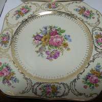 FOUR Continental Queens Bouquet Square Luncheon Plates, Queens Bouquet China, Vintage China Plates, Continental China, Art Deco China