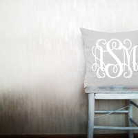 Custom monogrammed pillow decorative throw pillow personalized monogram pillow covers gray cotton letter pillow case 16x20 inches ohtteam