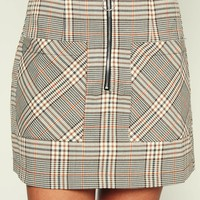 Chic As Can Be Plaid Skirt (Taupe)