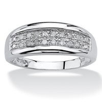 1/4 TCW Round Diamond Platinum over Sterling Silver Channel-Set Double-Row Anniversary Wedding Ring