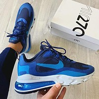 NIKE AIR MAX 270 REACT Gym Fashion New Hook Running Sports Leisure Shoes Blue