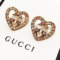 GUCCI Fashion Women Cute Diamond Heart Earrings Jewelry Accessories