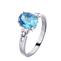 Natural Topaz oval cut 925 sterling silver ring (2.4ct)