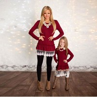 2017 Mommy and Me Fashion Dresses Spring Autumn mother daughter dresses Lace Patchwork Red long sleeves Family Matching Clothes