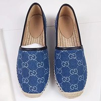 GUCCI New fashion more letter canvas lazy shoes women Blue