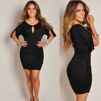 Fashion Women Slit Design Round Neck Black Bodycon Dress [8802260428]