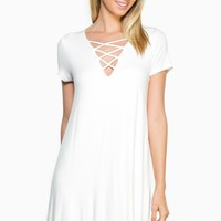 ShopSosie Style : Cool Factor Dress in Ivory