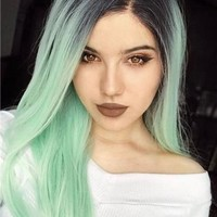 Galway Green Mint Ombre Long Straight Synthetic Lace Front Wig
