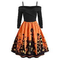 Plus Size Halloween Bat Print Dress Costumes Midi Dress Colors