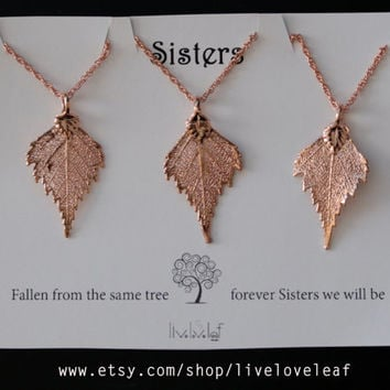 Set of 3 Sisters leaf necklaces - matching Rose Gold Birch Leaf Pendants for sisters or Mom and daughters, dipped leaf jewelry gift ideas