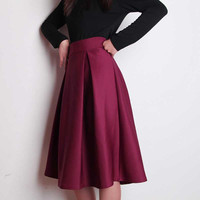 2014 THK Autumn and Winter High Waist Put On A Large Umbrella Skirt Retro Style OL Ladies Pleated Elegance Long Skirts 5 Colors