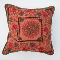 embroidered Cushion cover designer suzani Handmade Pillow cover, Suzani Embroidery Cushion cover pillow case decor cushion sofa cover,