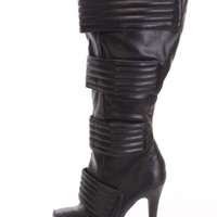 Black Strappy High Heel Boots Faux Leather