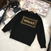 Versace Girls Sweaters Children's pullover Floral Sweater Girls pullover baby girls Autumn&winter   clothes Kids thick coat