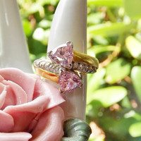 Vintage Two-Toned Gold Wash and Silver Cocktail Ring with 2 Pear-Shaped Pink Rhinestones and 10 Clear Stones