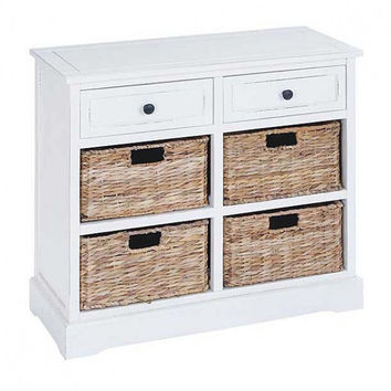 White 2-Drawer Storage Chest with Baskets