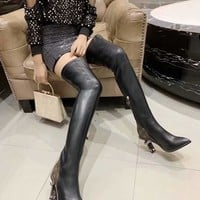 LV Louis Vuitton Trending Men Women Black Leather Side Zip Lace-up Ankle Boots Shoes High Boots