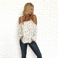 To Kiss A Rose Cold Shoulder Blouse