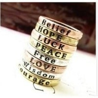 Cheapest Simple Vintage Letter Rings Jewelry SP10104