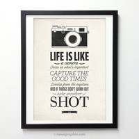 NEW Poster 50% OFF - Life Is Like A Camera - Vintage Style Typography Inspirational quote poster