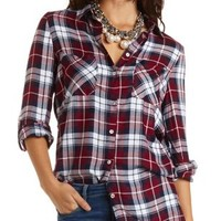 Button-Up Plaid Tunic Top by Charlotte Russe - Red Combo