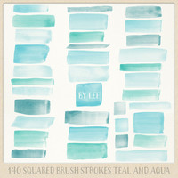 Watercolor clipart strokes squared (140 pc) mint teal aqua blue turquoise. hand painted overlays logo design blogs cards printables wall art