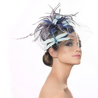 Dragonfly Fascinator,  Insect Races Hat, Blue and Grey Cocktail Hat