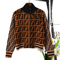Fendi high quality new fashion more letter print keep warm cardigan long sleeve top coat Coffee