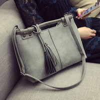 Gray Tassel Large Leather Crossbody Shoulder Handbag