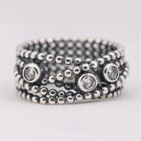 Punk Original Authentic 925 Sterling Silver Vintage Circle Rope Ring For Women Wedding Engagement Gift Fine Lady Pandora Jewelry