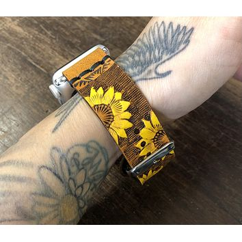Tan Leather with Yellow Sunflowers Apple Watch Band 38mm or 40mm