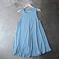 Final Sale - BSIC - Sleeveless Burnout Swingy Tank Dress in Heathered Blue