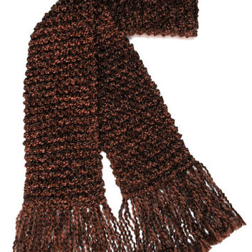 Chocolate Brown Scarf Extra Long Men Women Chunky Knit Winter Scarf 10 ft long