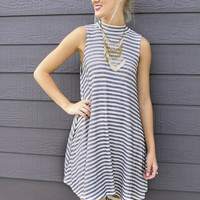 California Nights Navy & Ivory Striped Mock Neck French Terry Dress