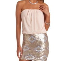 Strapless Pleated Chiffon & Tribal Sequin Dress - Blush Combo
