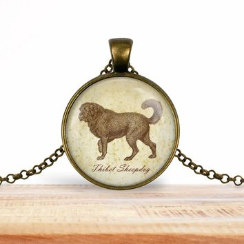 Thibet Sheepdog dog pendant necklace, choice of silver or bronze, key ring option